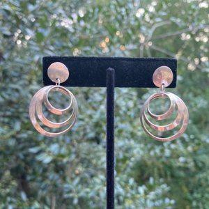 VTG Sterling 3-Hoop Drop EARRINGS